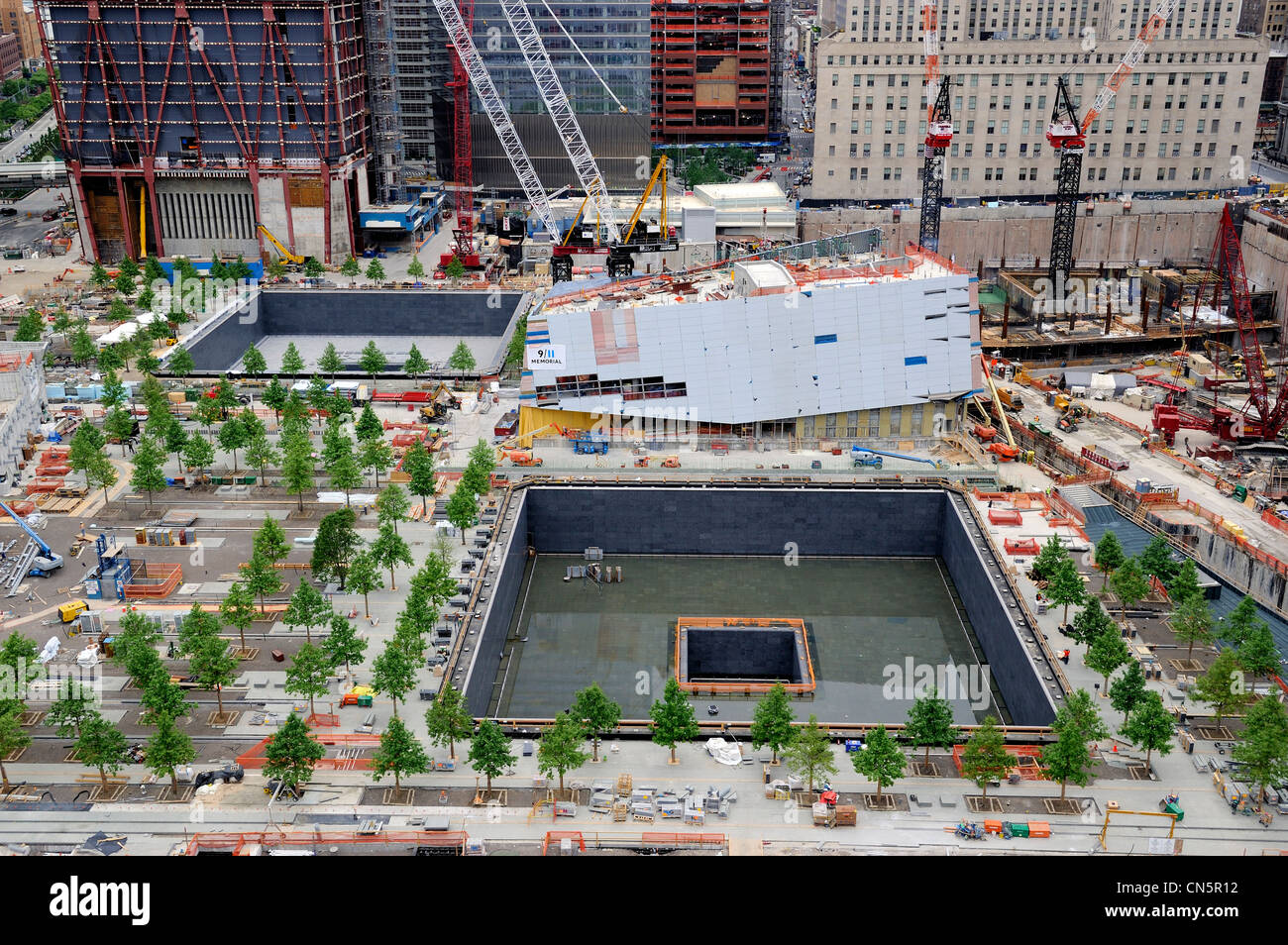 United States, New York City, Manhattan, reconstruction at Ground Zero, a memorial called Reflecting Absence is - Stock Image