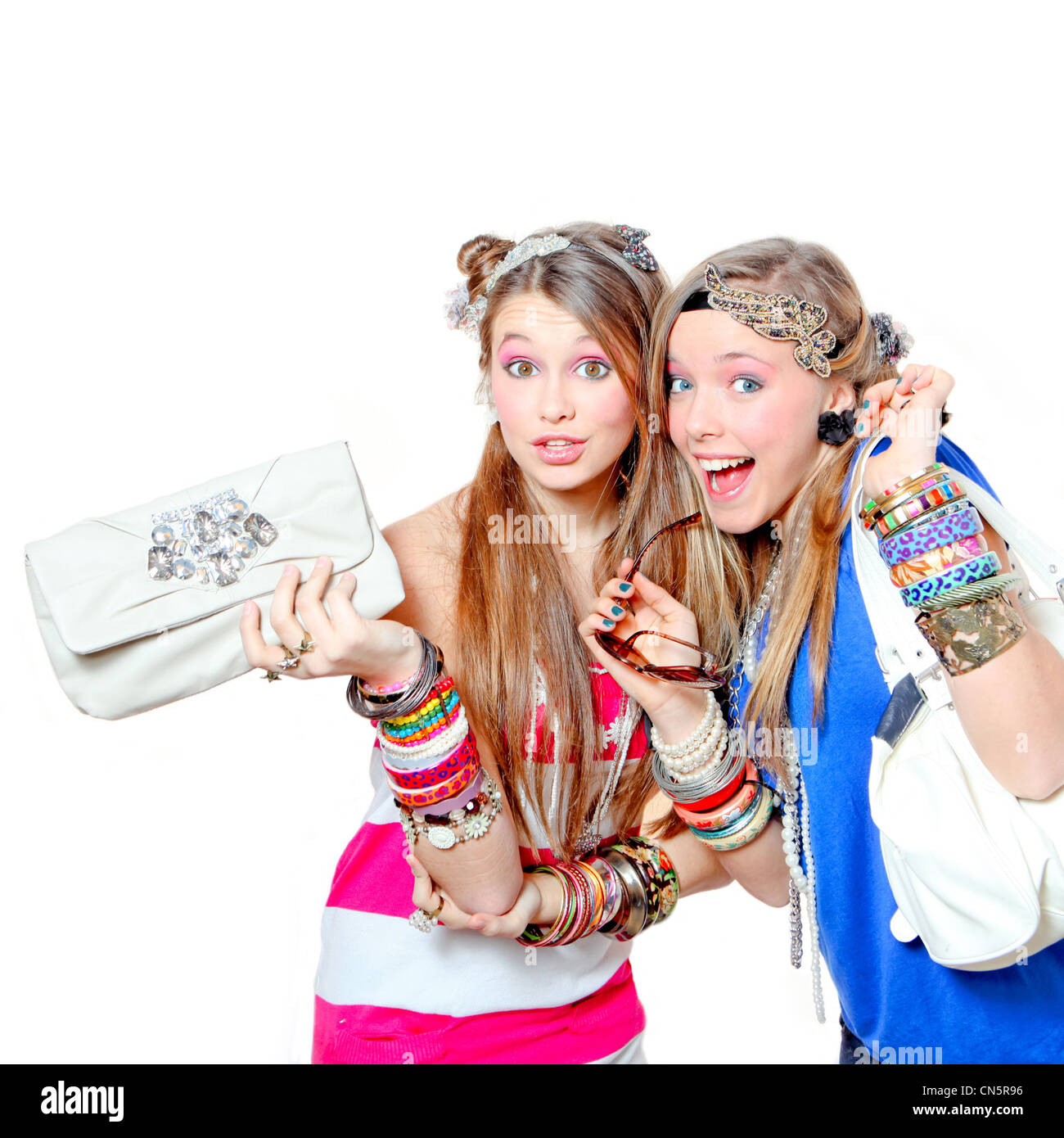 fashion kids teens or girls with bangles and accessories - Stock Image