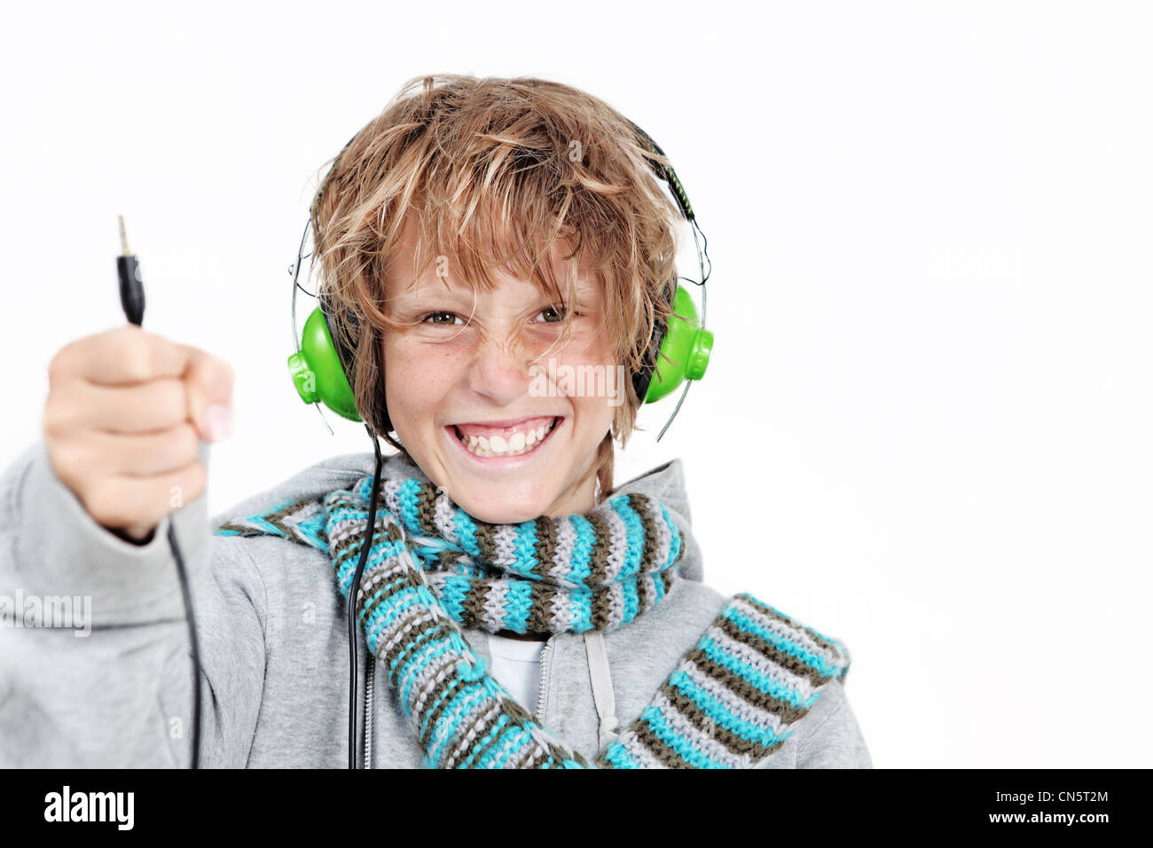child with headphones - Stock Image