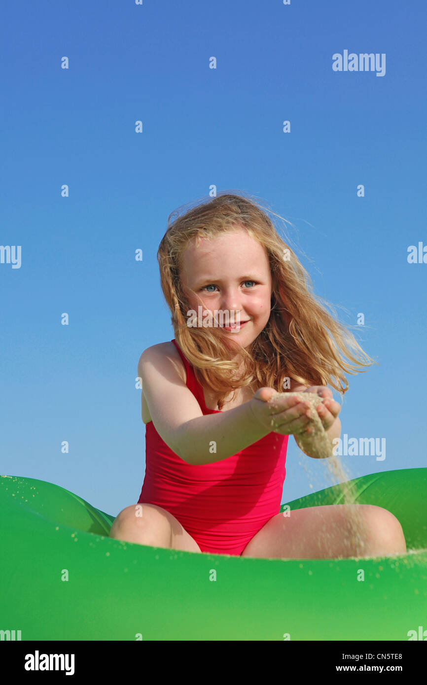 happy child playing on summer vacation Stock Photo