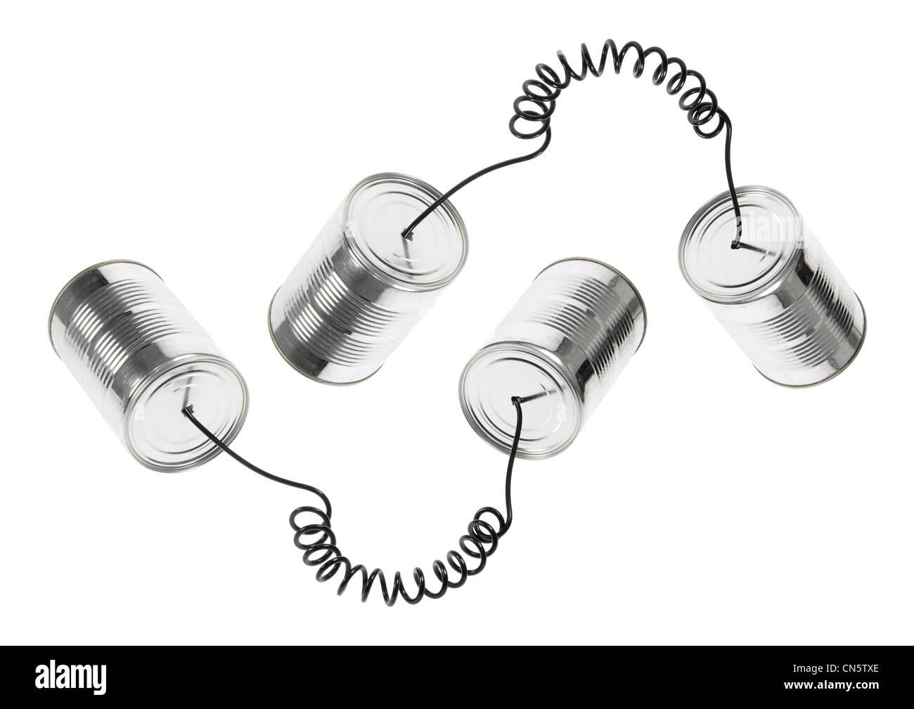 Tin Can Telephones - Stock Image