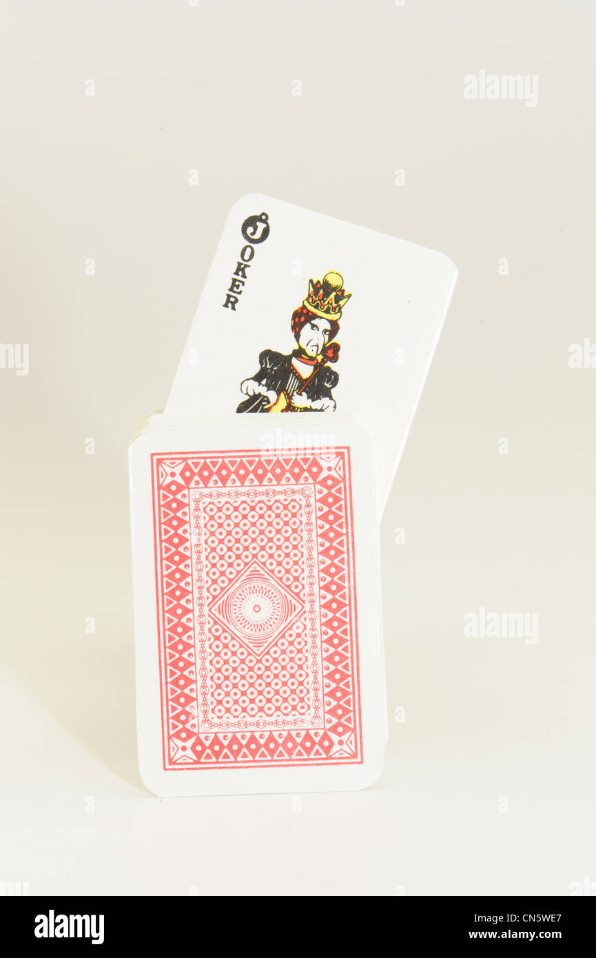 deck of cards with protruding card taken on a white background - Stock Image
