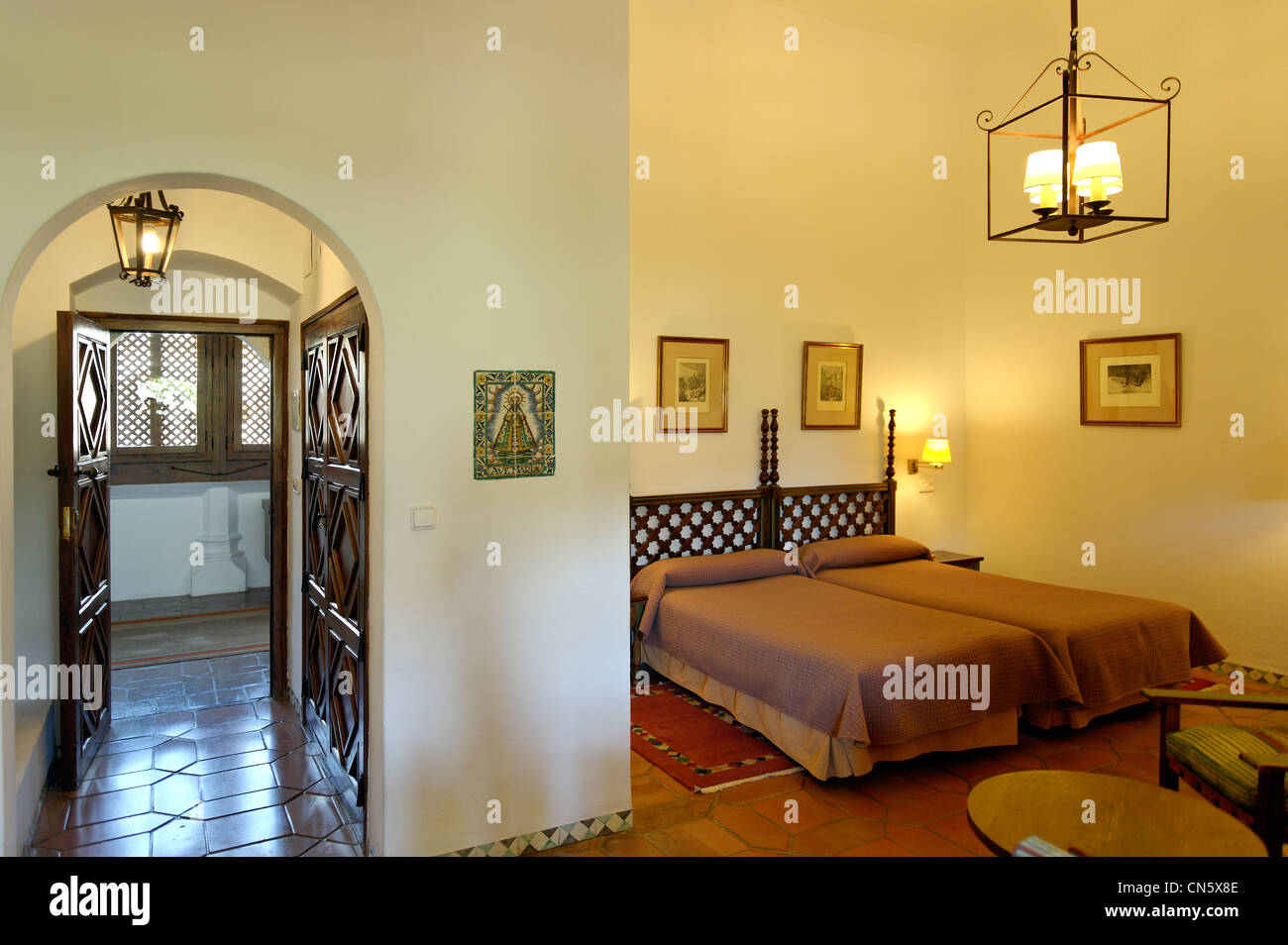 Spain, Extremadura, Guadalupe, Parador of Tourism, bedroom - Stock Image