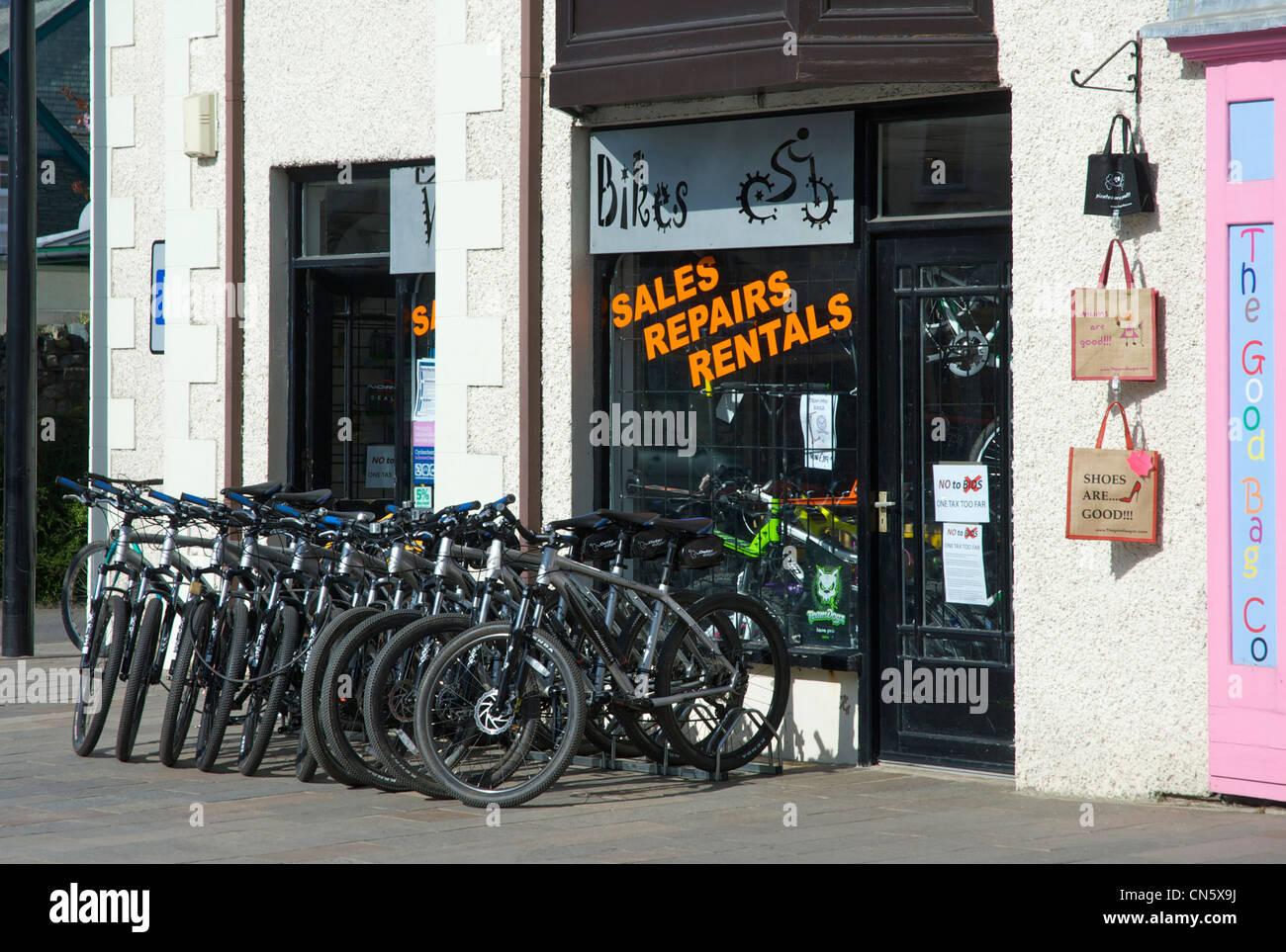 Mountain bike hire shop in Keswick, Lake District National Park, Cumbria, England UK - Stock Image