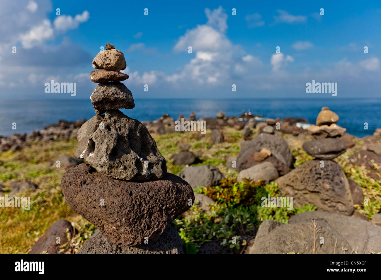 South Korea, Jeju Province, small volcanic rocks piled as a sign of good luck - Stock Image