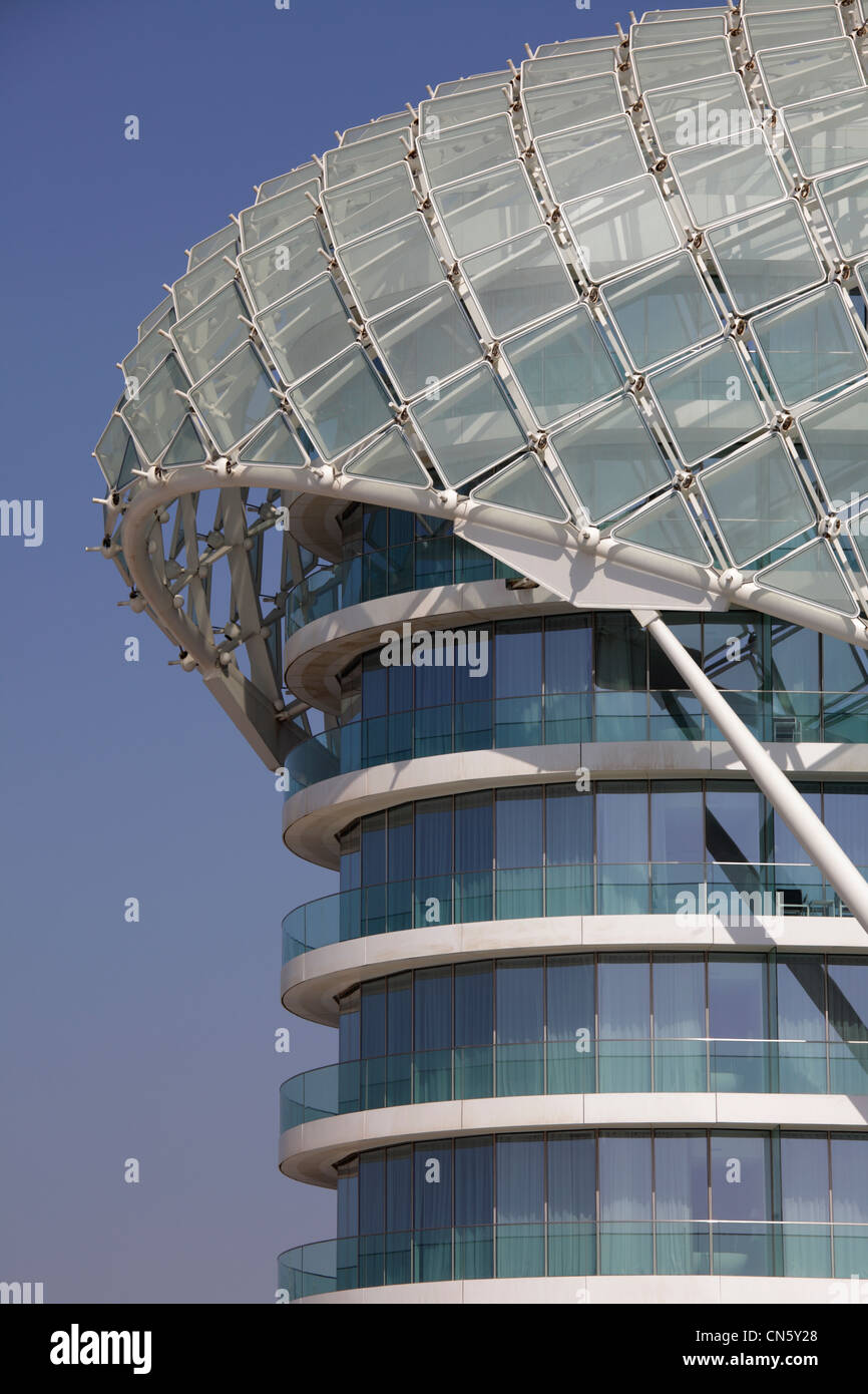 Architectural detail of the Yas Viceroy Hotel, Abu Dhabi, United