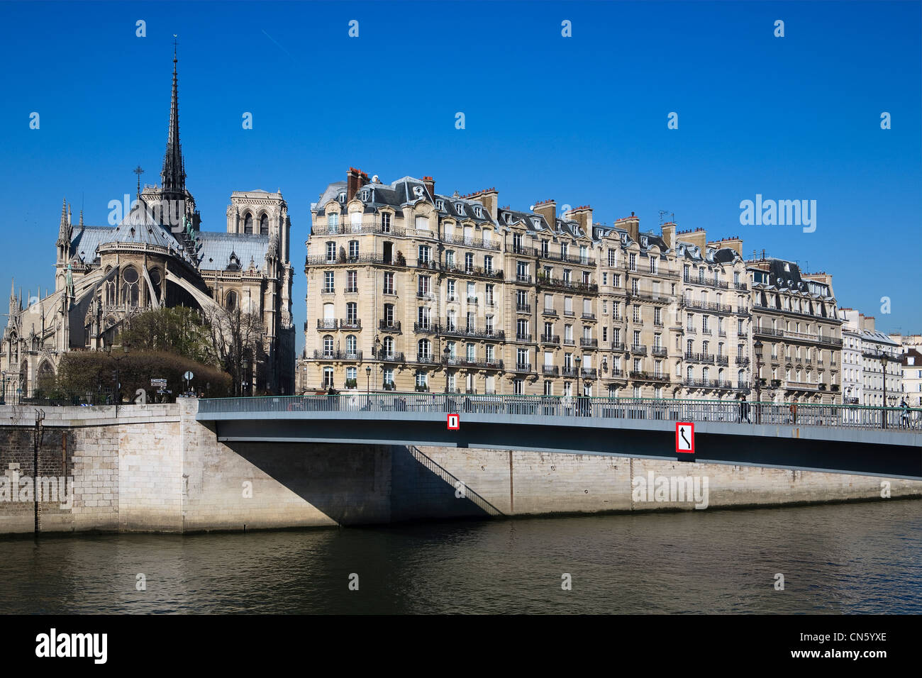 France, Paris, the Seine river banks listed as World Heritage by UNESCO and Notre Dame cathedral on St Louis island Stock Photo