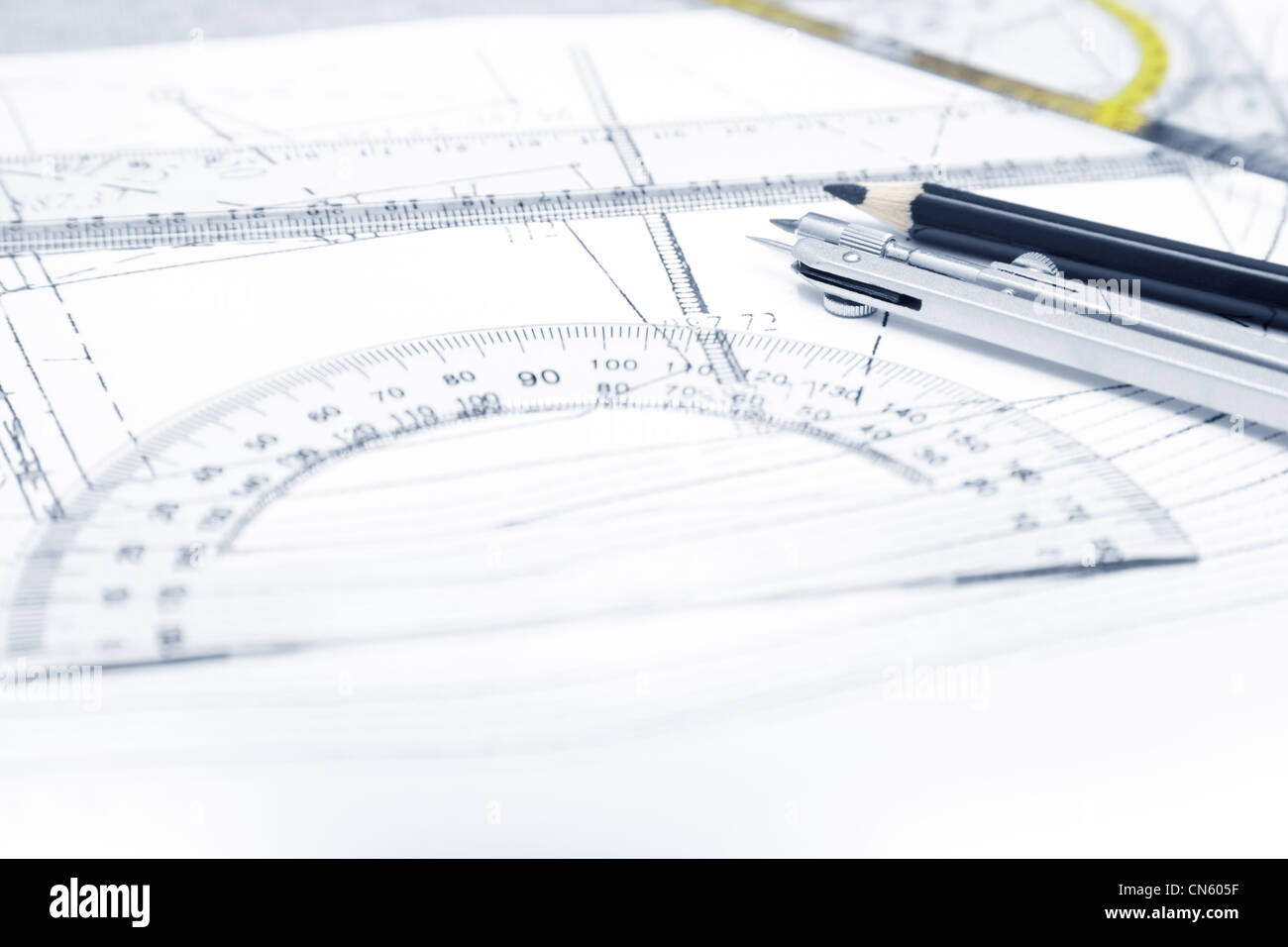 Scheme with compasses rulers and pencil. Close-up photo - Stock Image