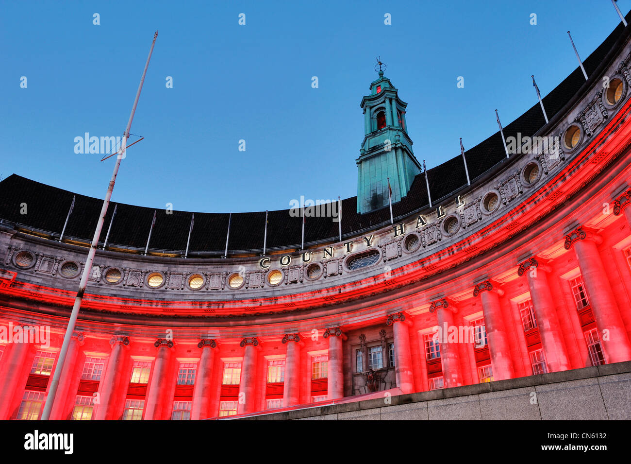 County Hall London lit up at night - Stock Image