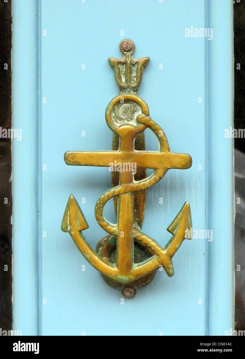 Brass Door Knocker In The Shape Of A Shipu0027s Anchor   Stock Image