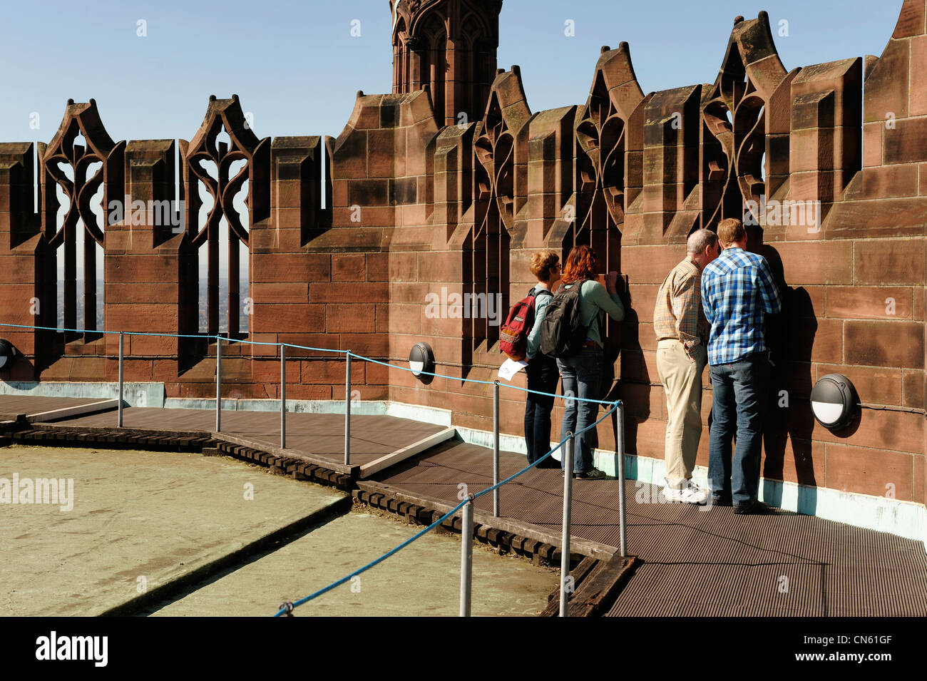 People on the Tower Tour at Liverpool Anglican Cathedral - Stock Image