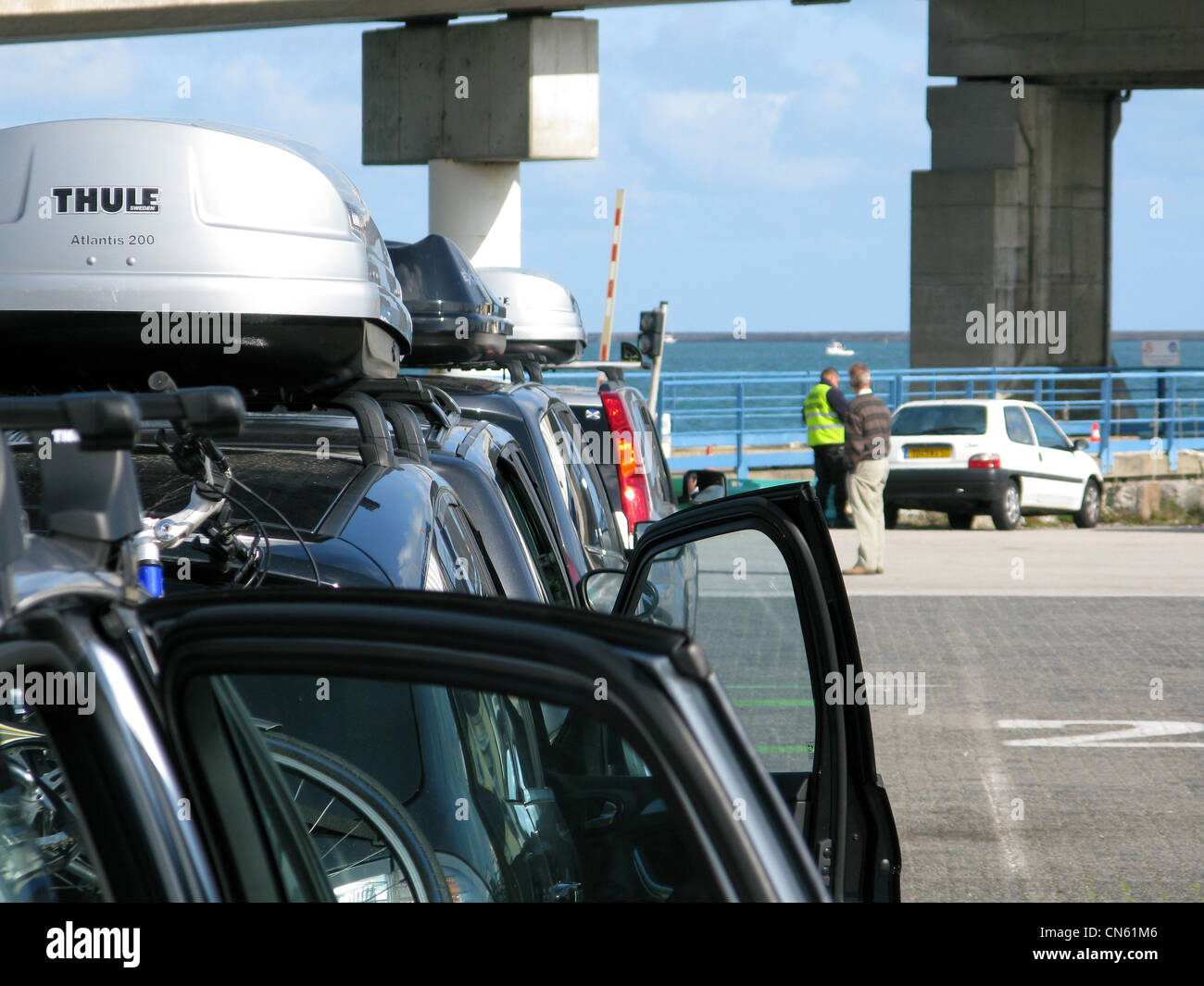 Cars waiting to board cross channel ferry at Dover UK - Stock Image