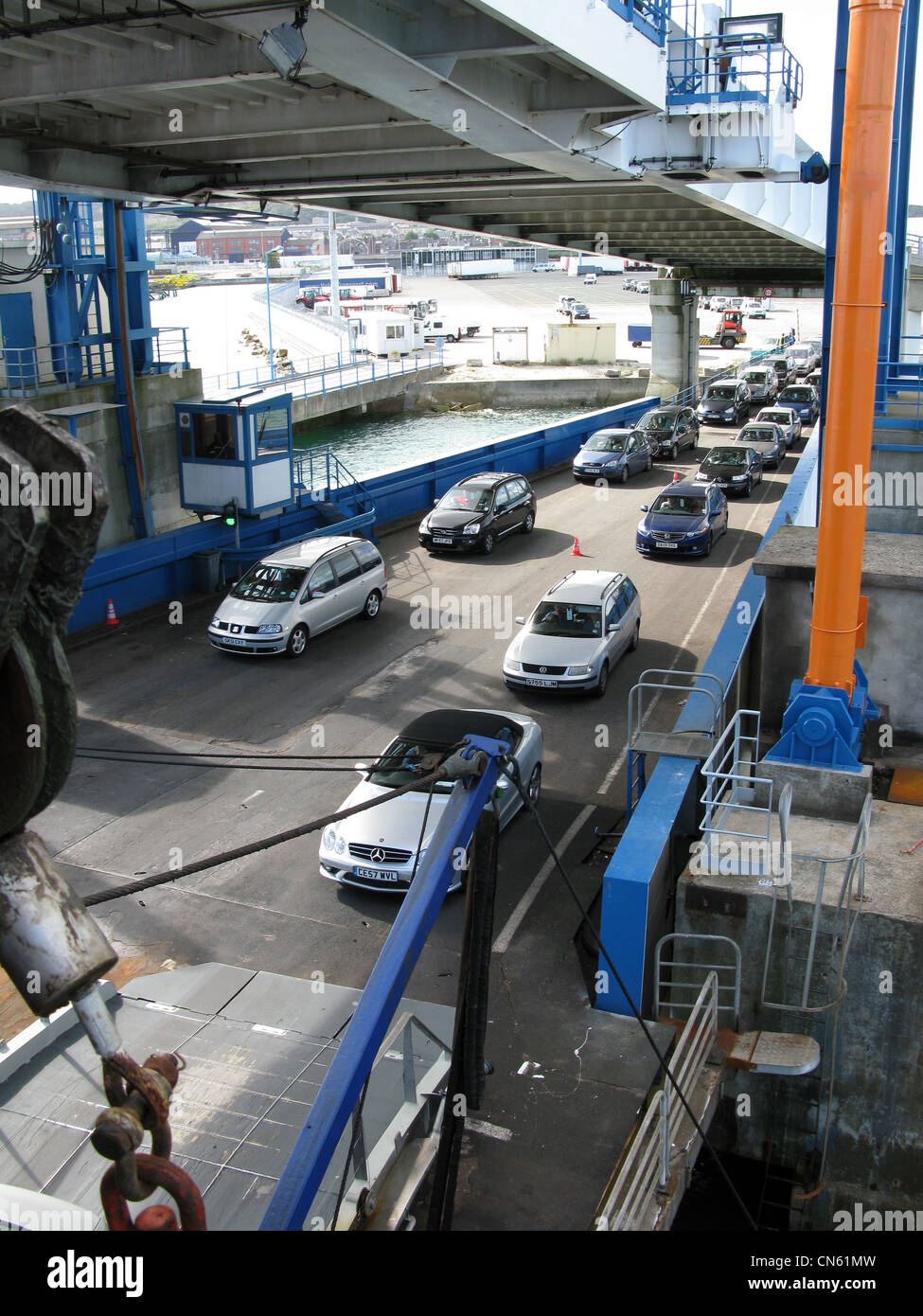 Cars boarding ferry at Dover UK - Stock Image