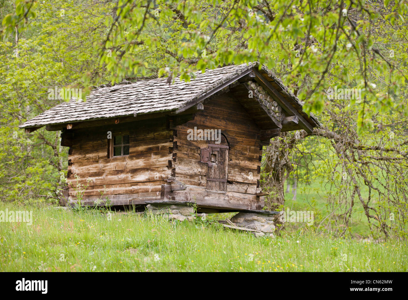 France, Haute Savoie, Les Houches, a chalet in the hamlet of high mountain pasture of Charousse - Stock Image