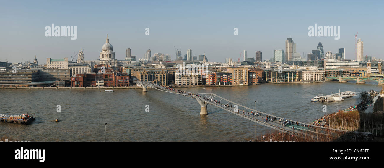 Panoramic London City and River Thames skyline - Stock Image