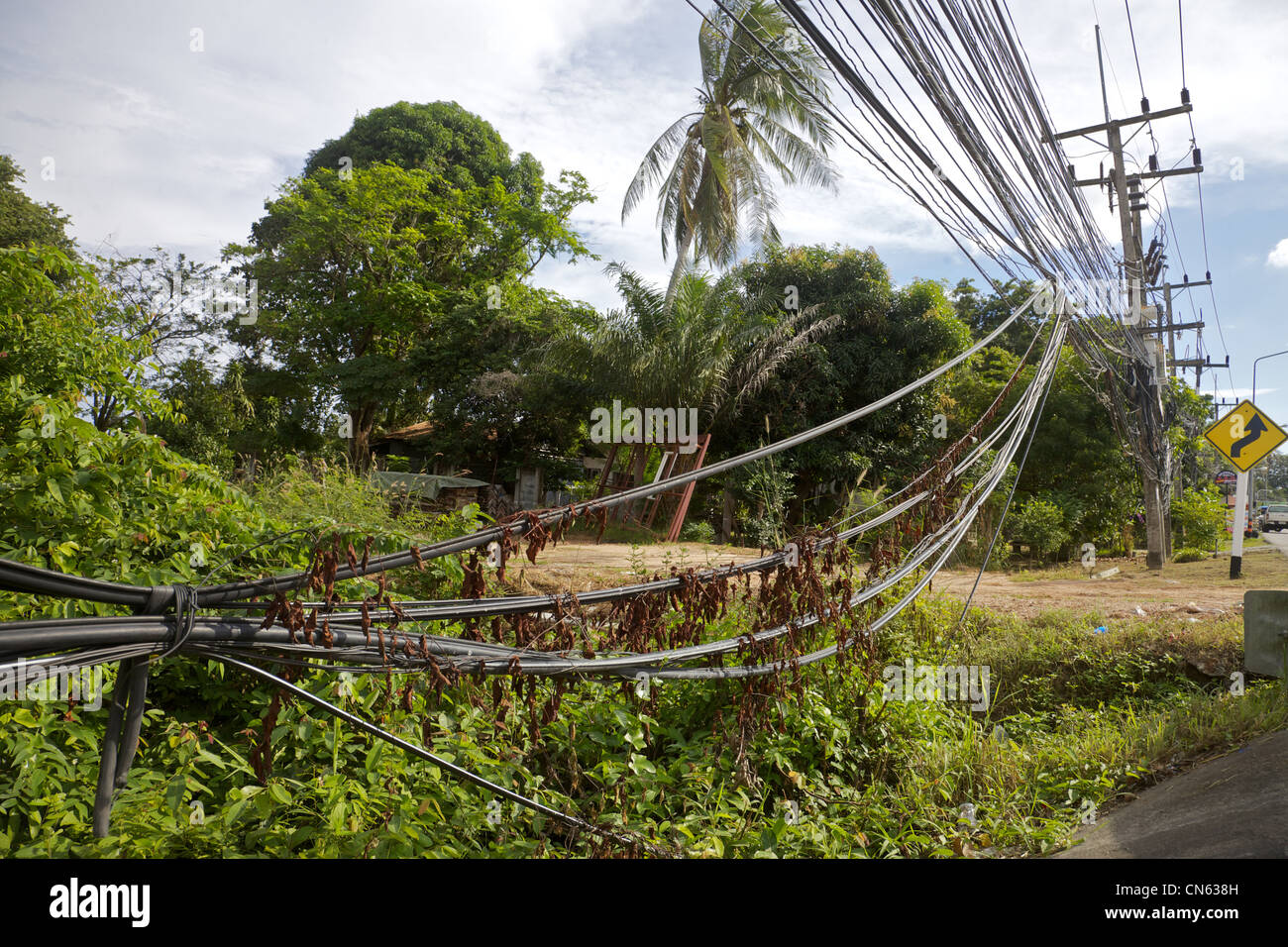 Telephone cable nightmare in Thailand - Stock Image