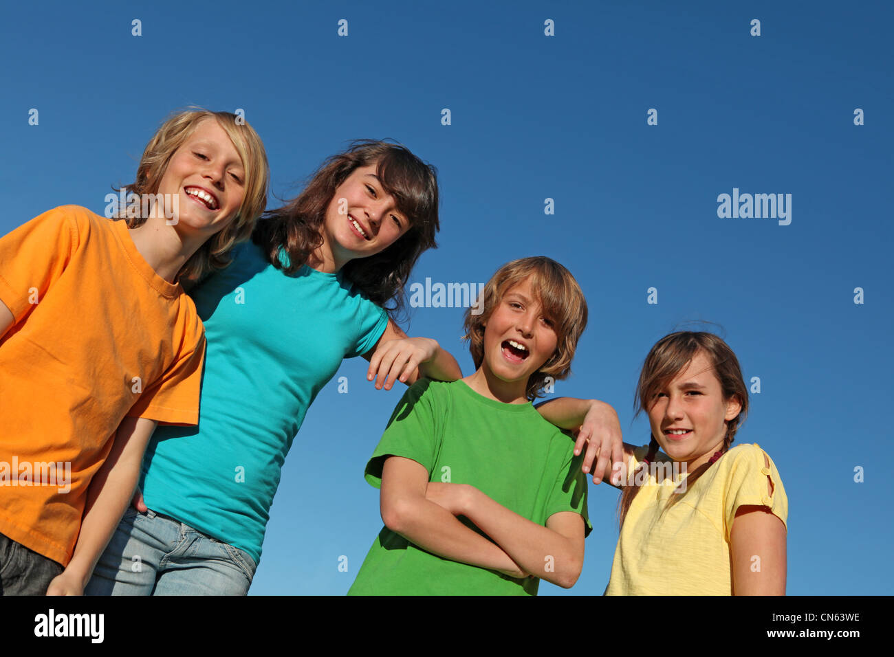 group of kids at summer school or camp - Stock Image