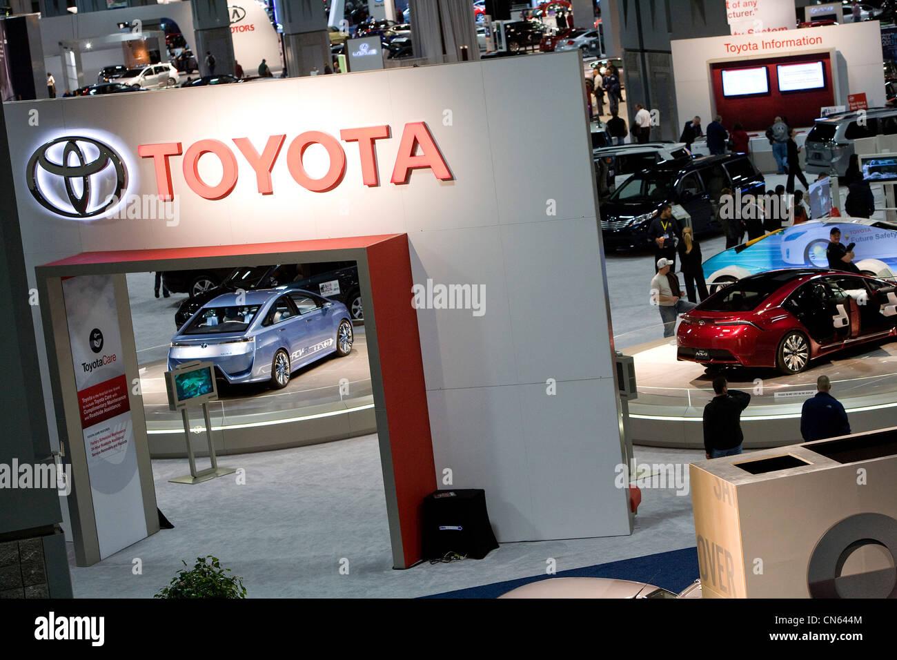 The Toyota display at the 2012 Washington Auto Show. - Stock Image