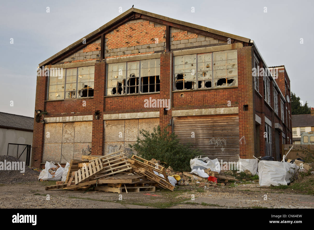 An old derelict factory and offices, England - Stock Image
