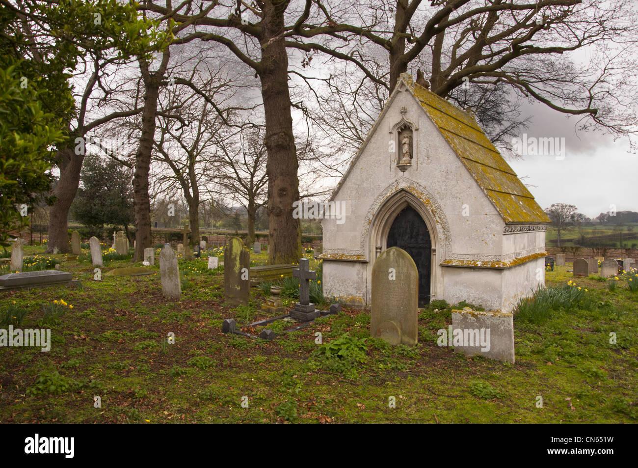Mausoleum  of Sir Robert John Harvey  in Kirby Bedon country church yard graveyard - Stock Image