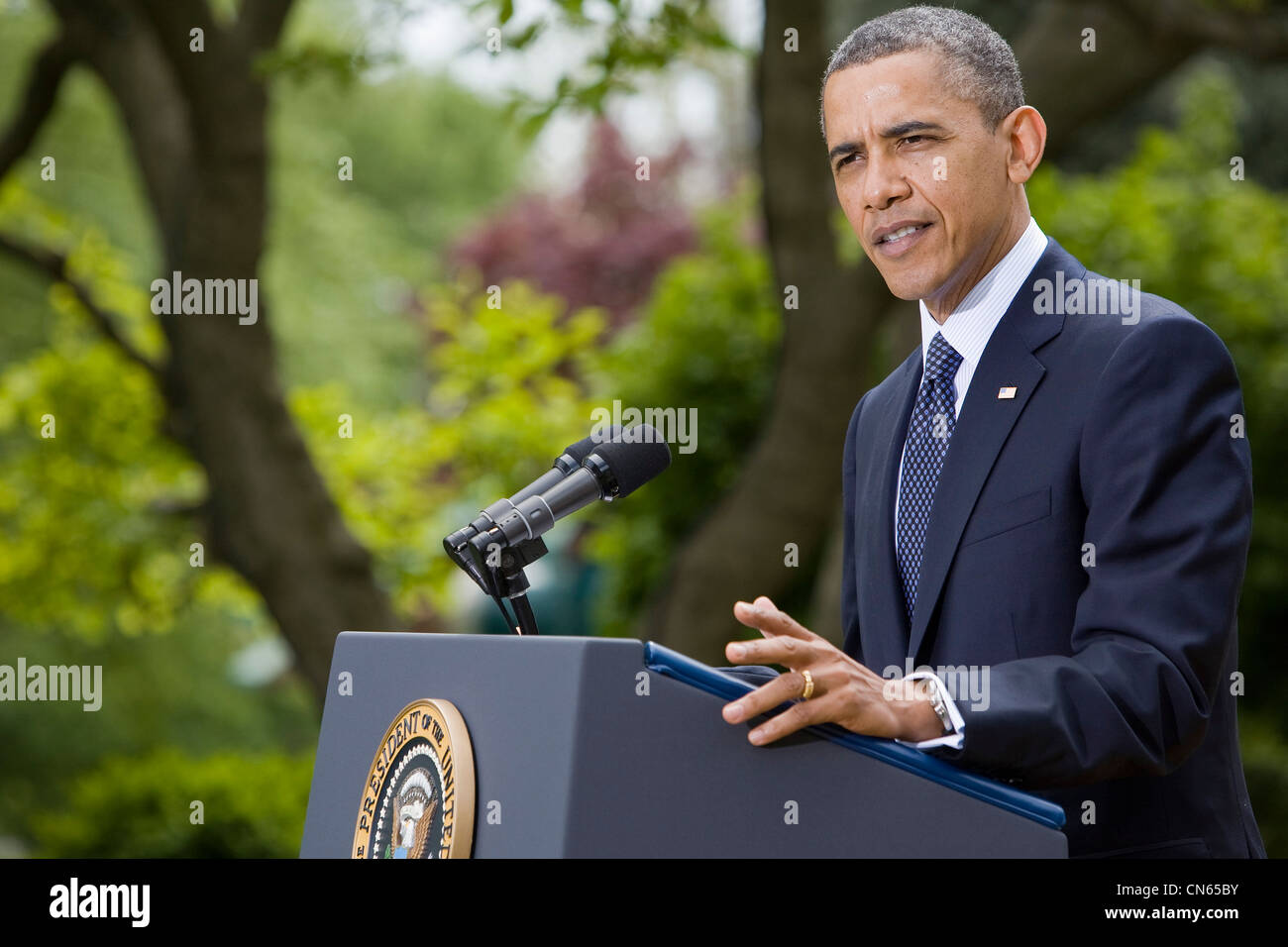 President Barack Obama delivers remarks prior to signing the Jumpstart Our Business Startups (JOBS) Act. - Stock Image