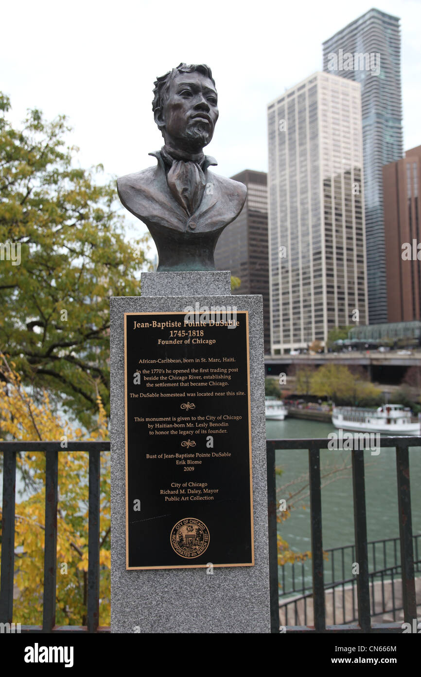 Bronze Bust of Jean-Baptiste Pointe DuSable, Founder of Chicago, Illinois. Located beside DuSable Bridge over Chicago - Stock Image
