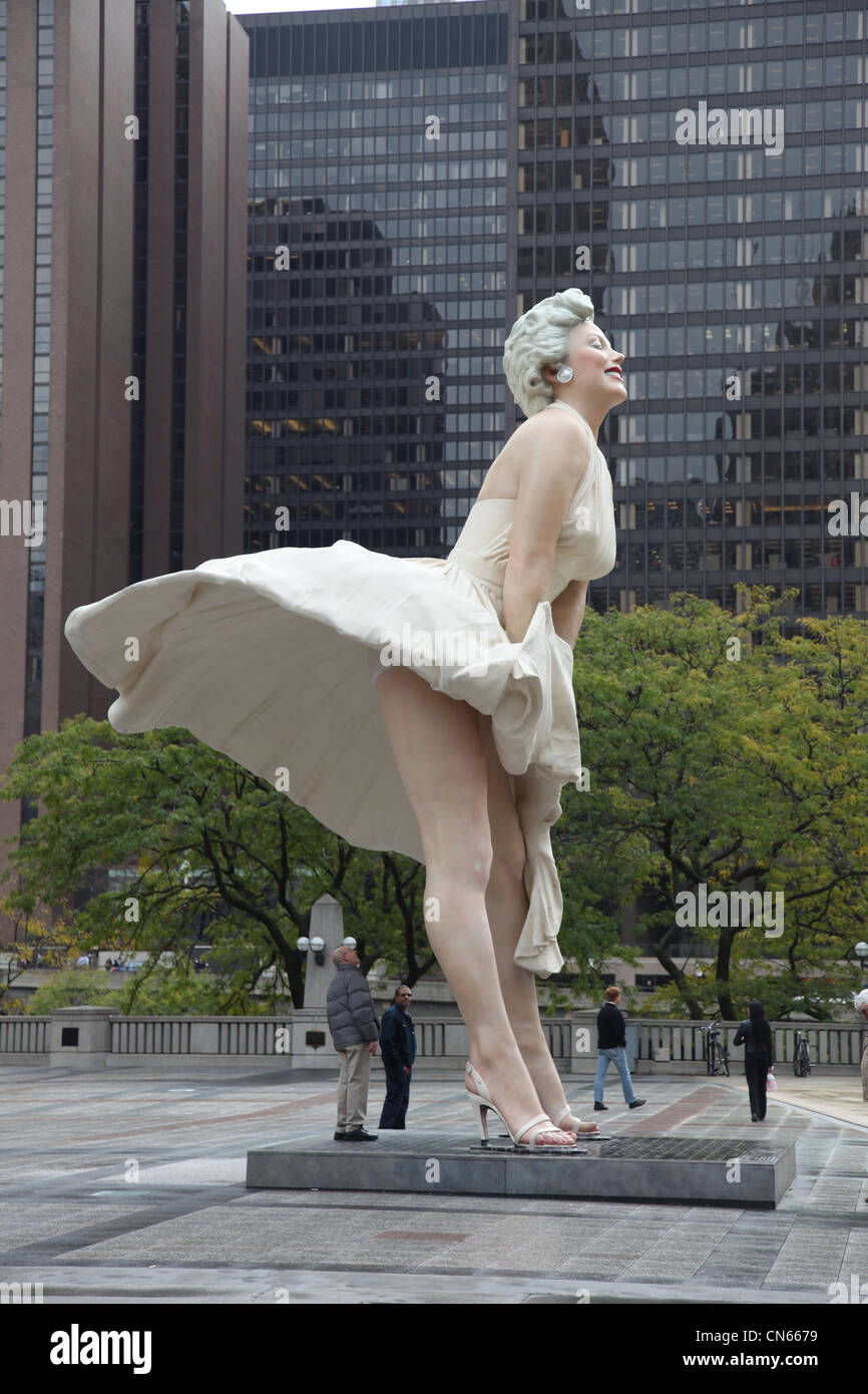 Statue of Marilyn Monroe in Chicago, Illinois USA usa united states - Stock Image