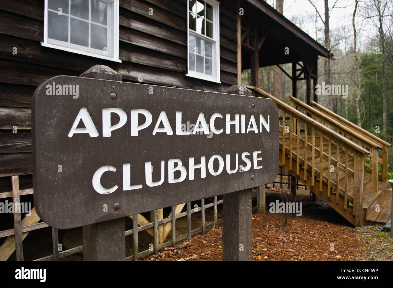 Appalachian Clubhouse at Millionaires Row in Elkmont Area of the Great Smoky Mountains National Park in Tennessee - Stock Image