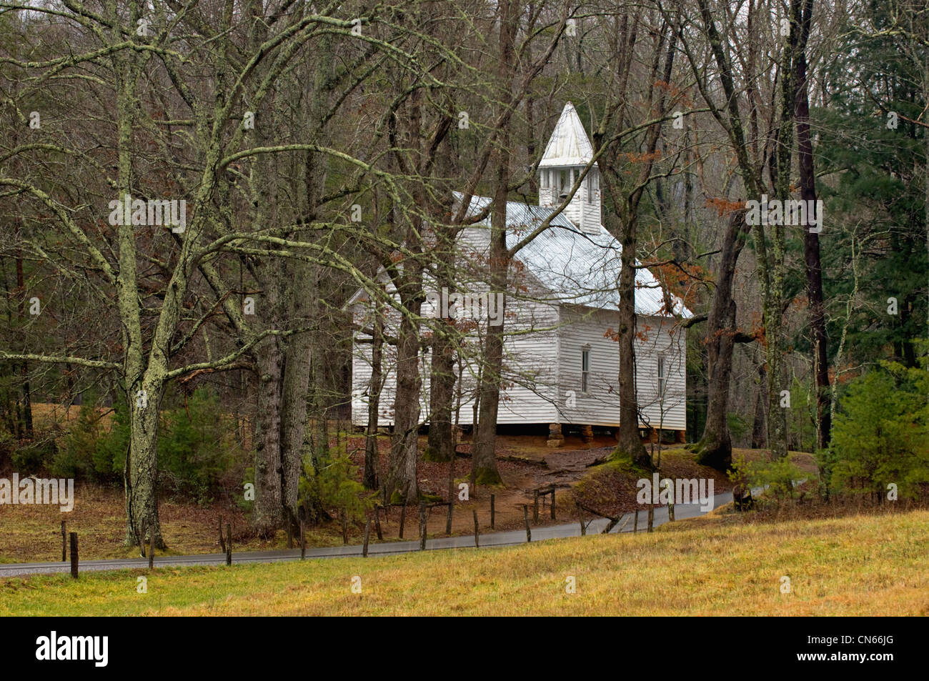 Cades Cove Methodist Church in the Great Smoky Mountains National Park in Tennessee - Stock Image