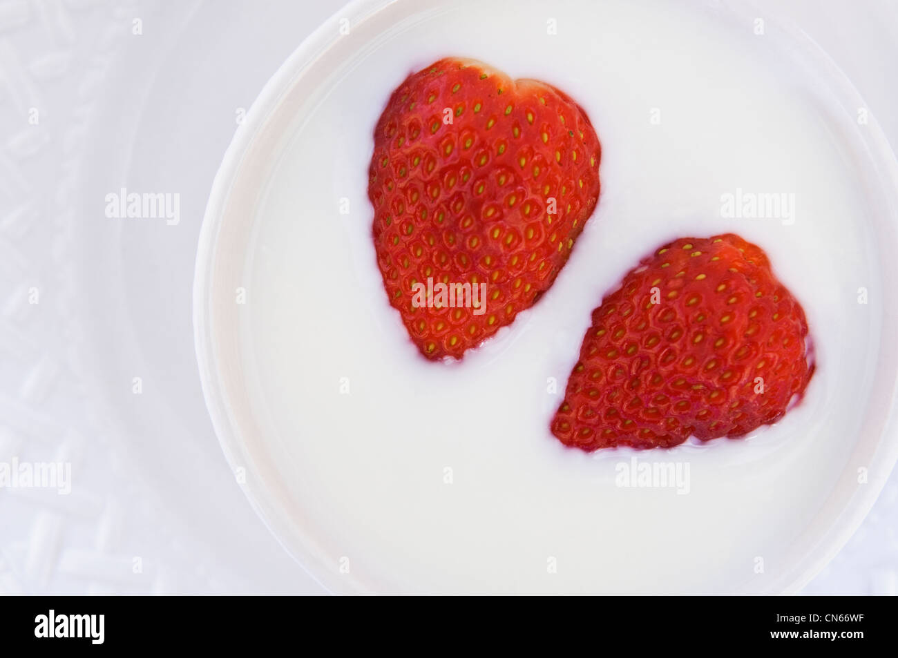Strawberries and Cream on White Plate Stock Photo