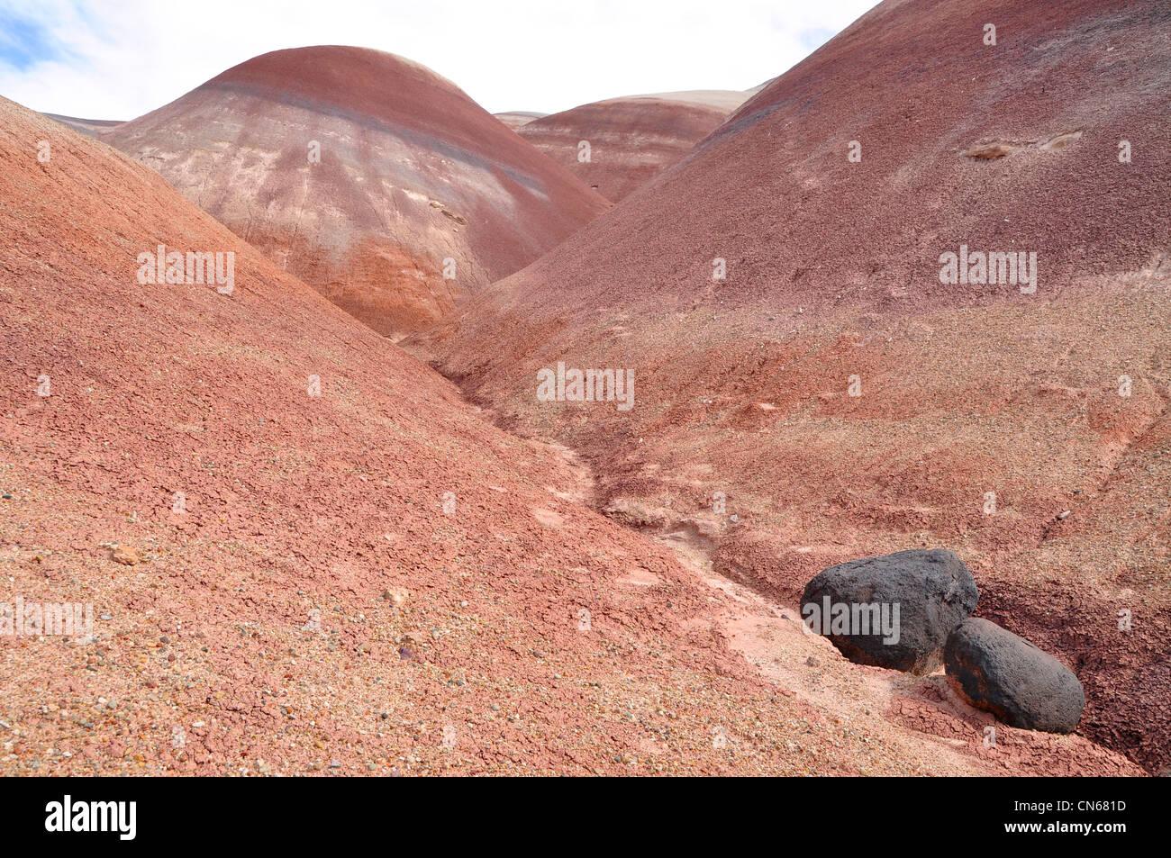 Boulders in shale hills, San Rafael Desert, Utah. - Stock Image