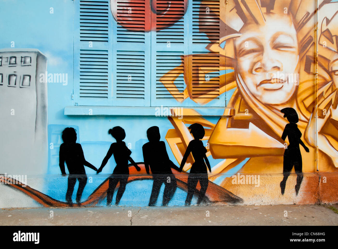 Painting on a wall Noumea New Caledonia - Stock Image