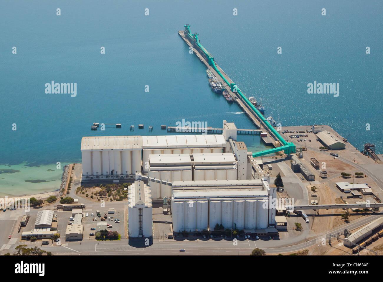 Wharf and silos. Port Lincoln. Eyre Peninsula South Australia - Stock Image