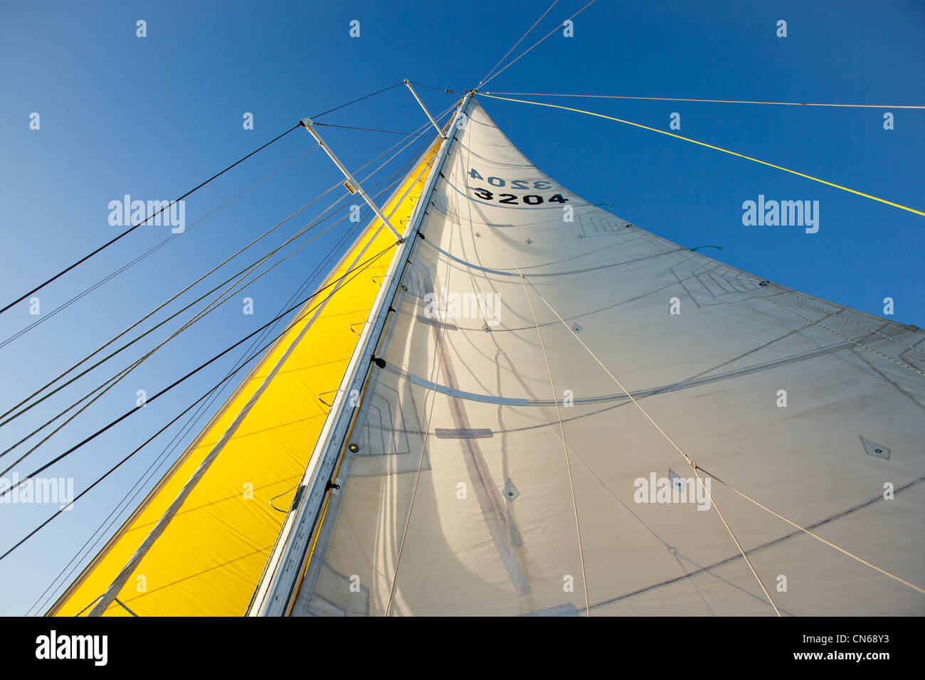 Looking up a mast on a boat. - Stock Image