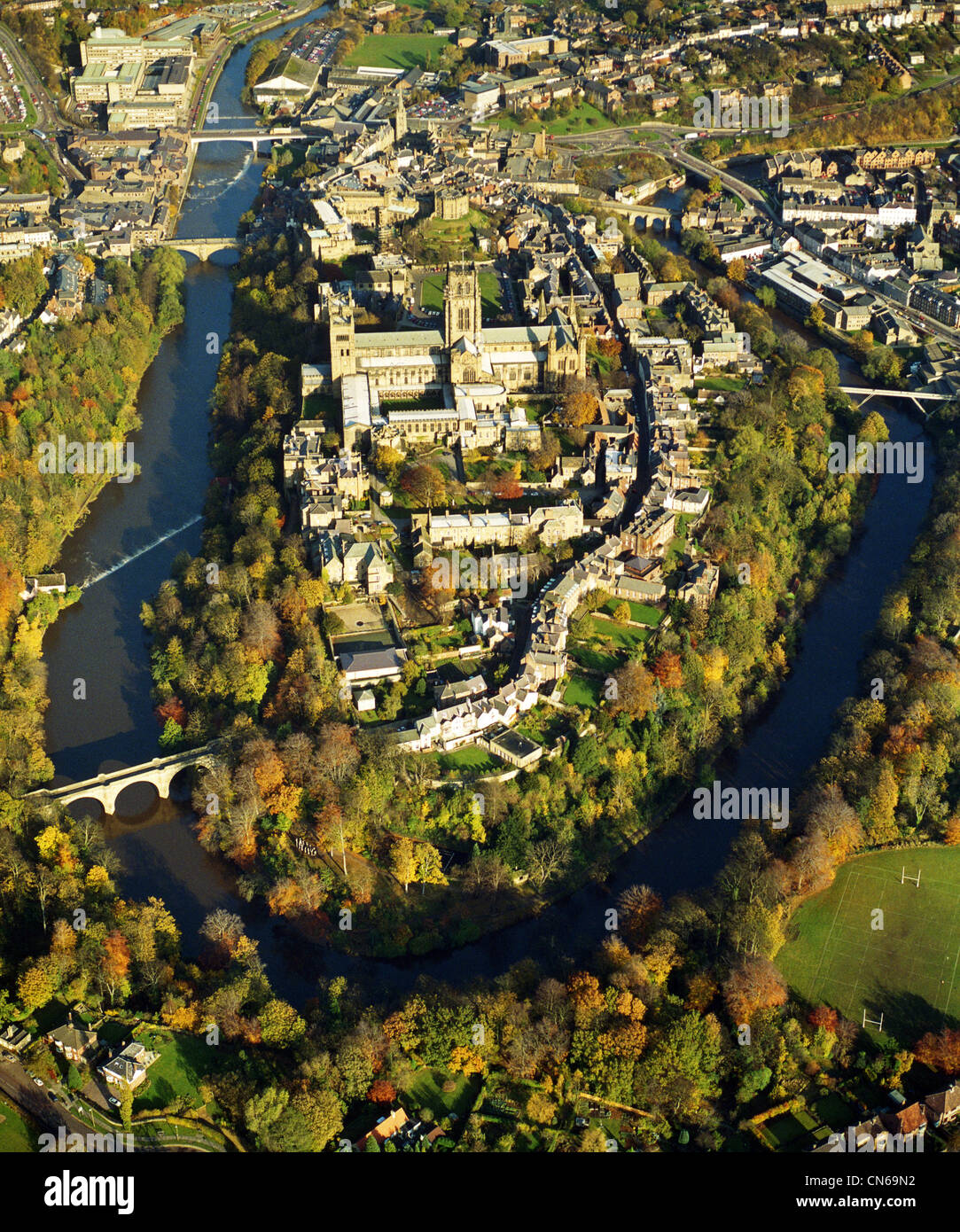 Aerial View Of Durham City With River Tees Stock Photo 47467870 Alamy