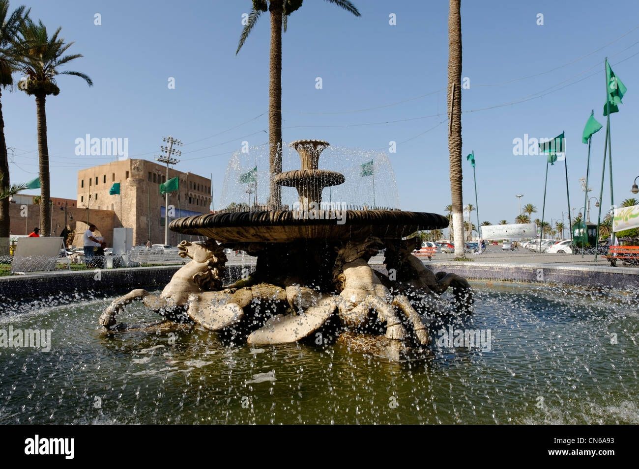 Tripoli. Libya. Close-up of horse head from the ornate water fountain of sea horses located in Green Square or Martyrs Square. Stock Photo