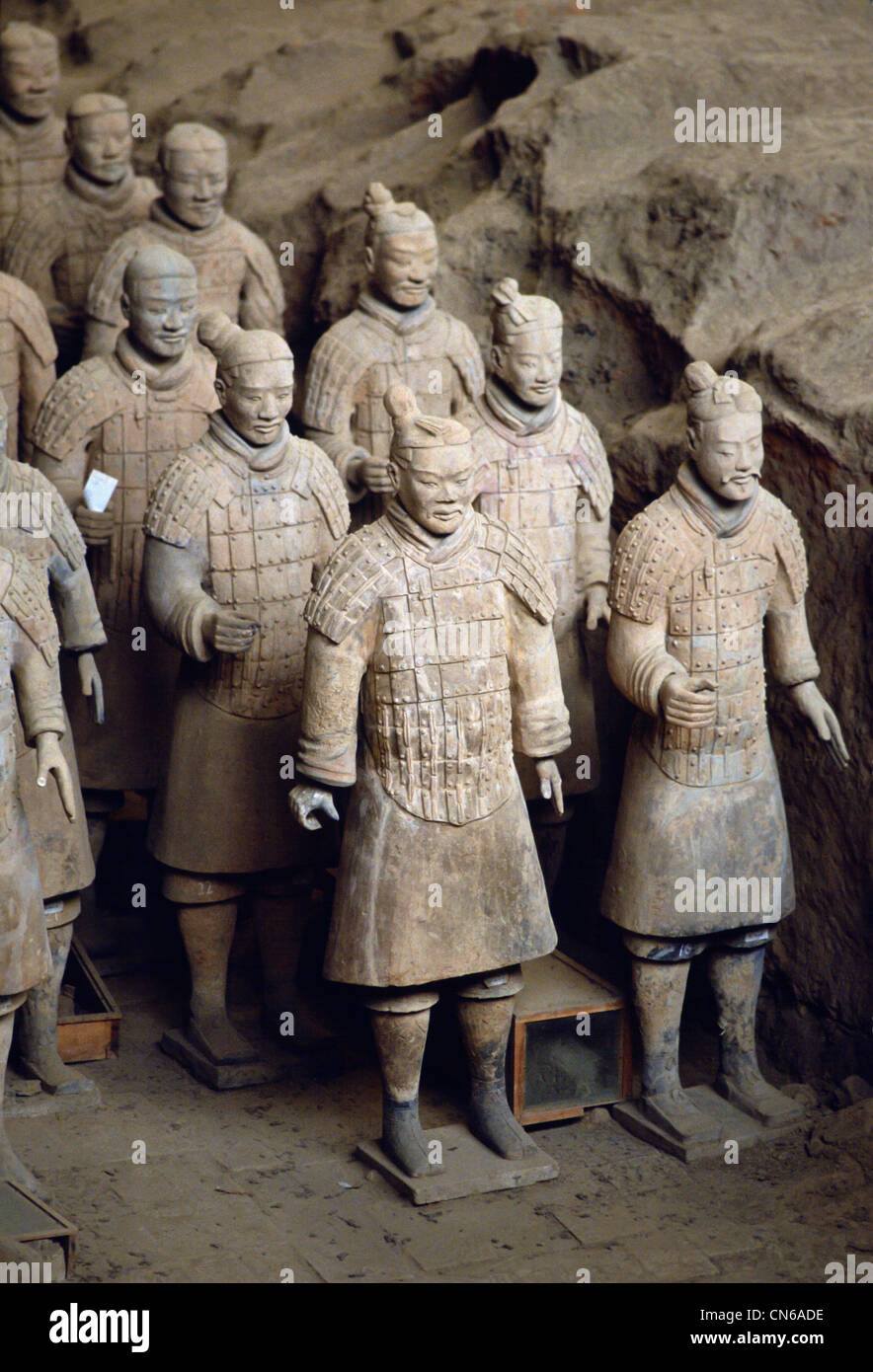 Terracotta army warriors at tomb of Emperor Qin Shi ...