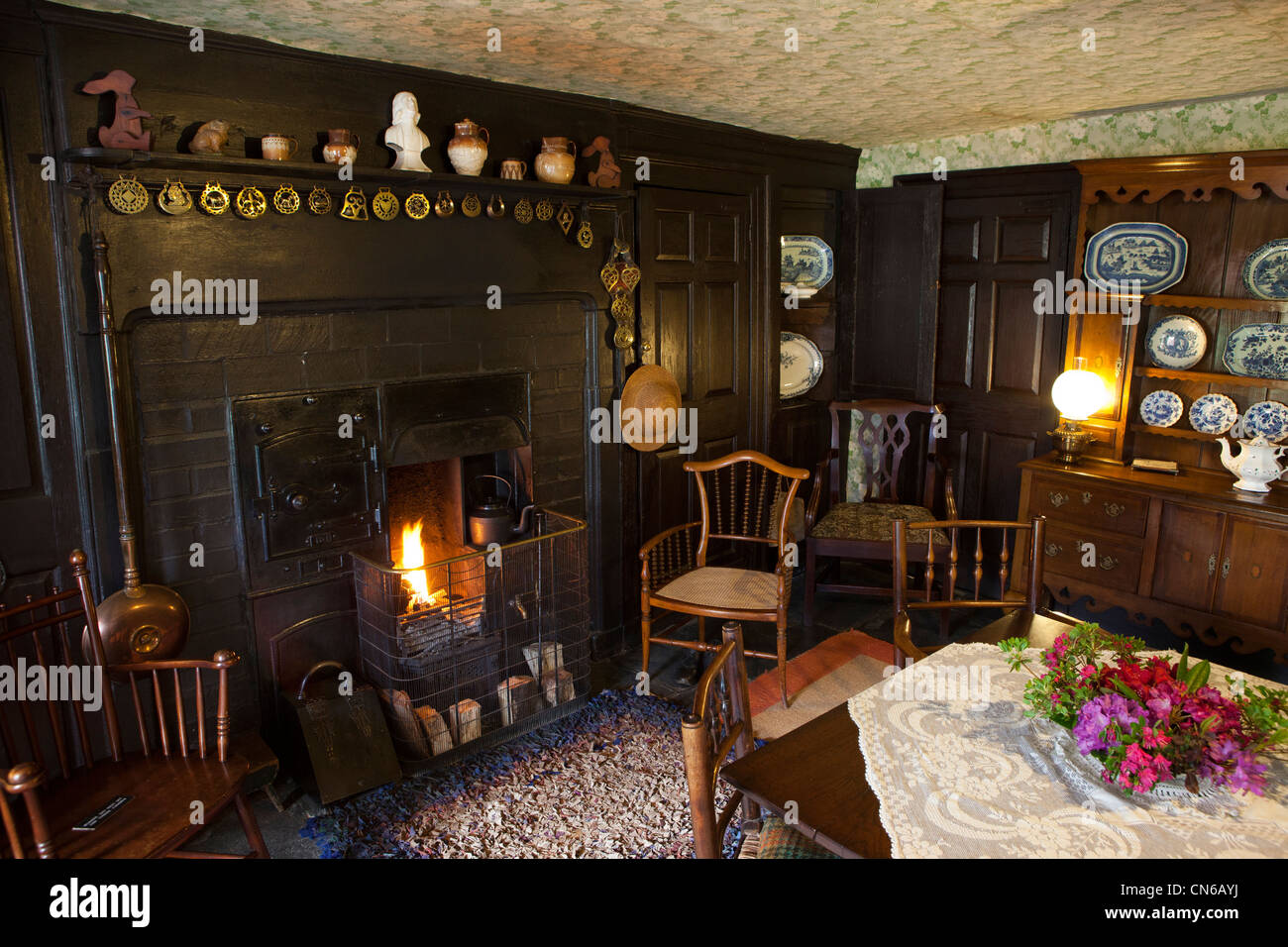 UK, Cumbria, Lake District, Near Sawrey Hill Top Farm, home of Beatrix Potter, the living room Stock Photo
