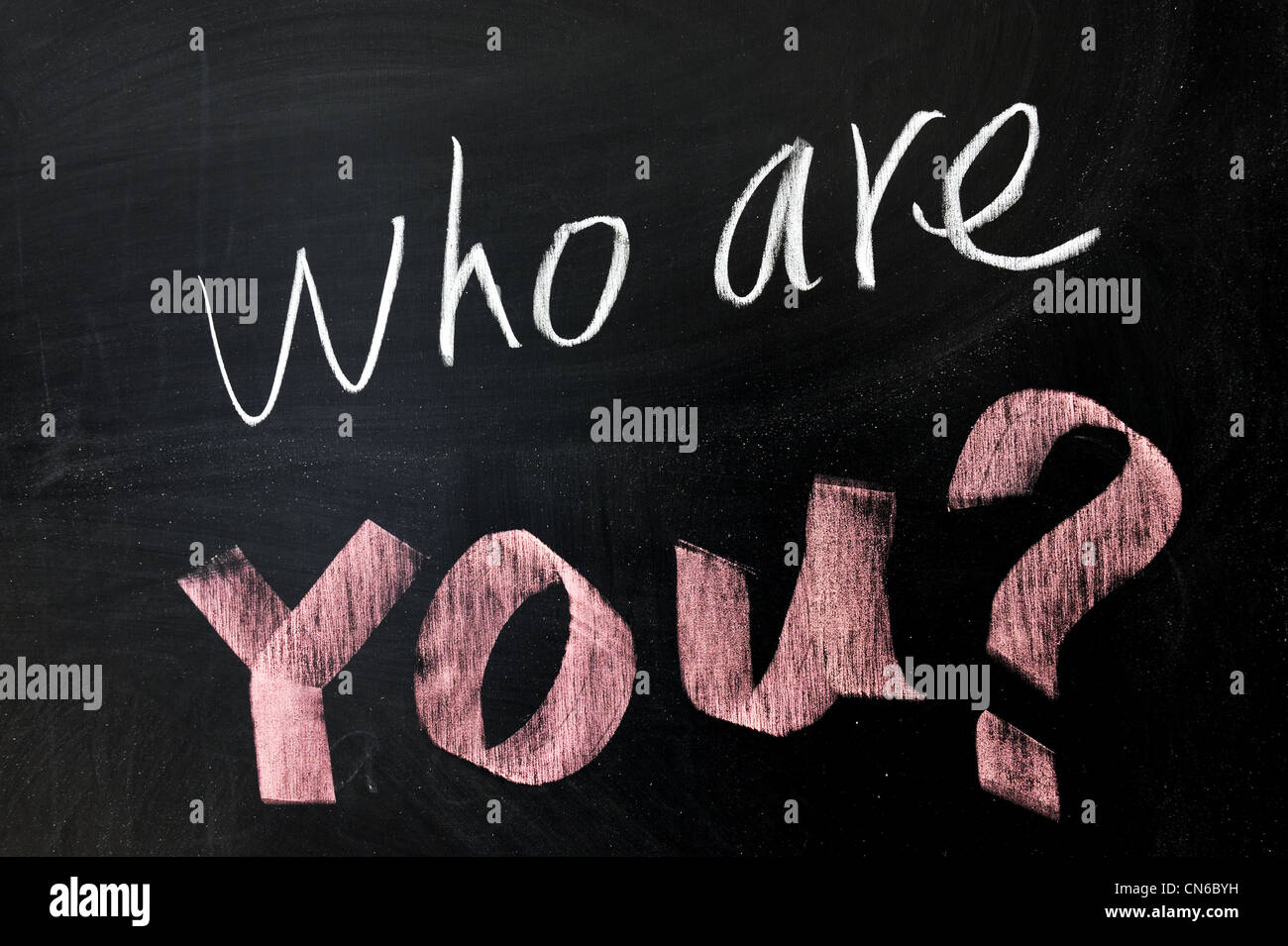 Chalk drawing - Who are you - Stock Image