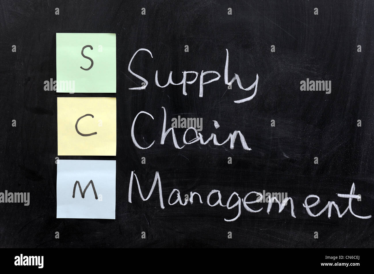 Chalk drawing - SCM, supply chain management Stock Photo