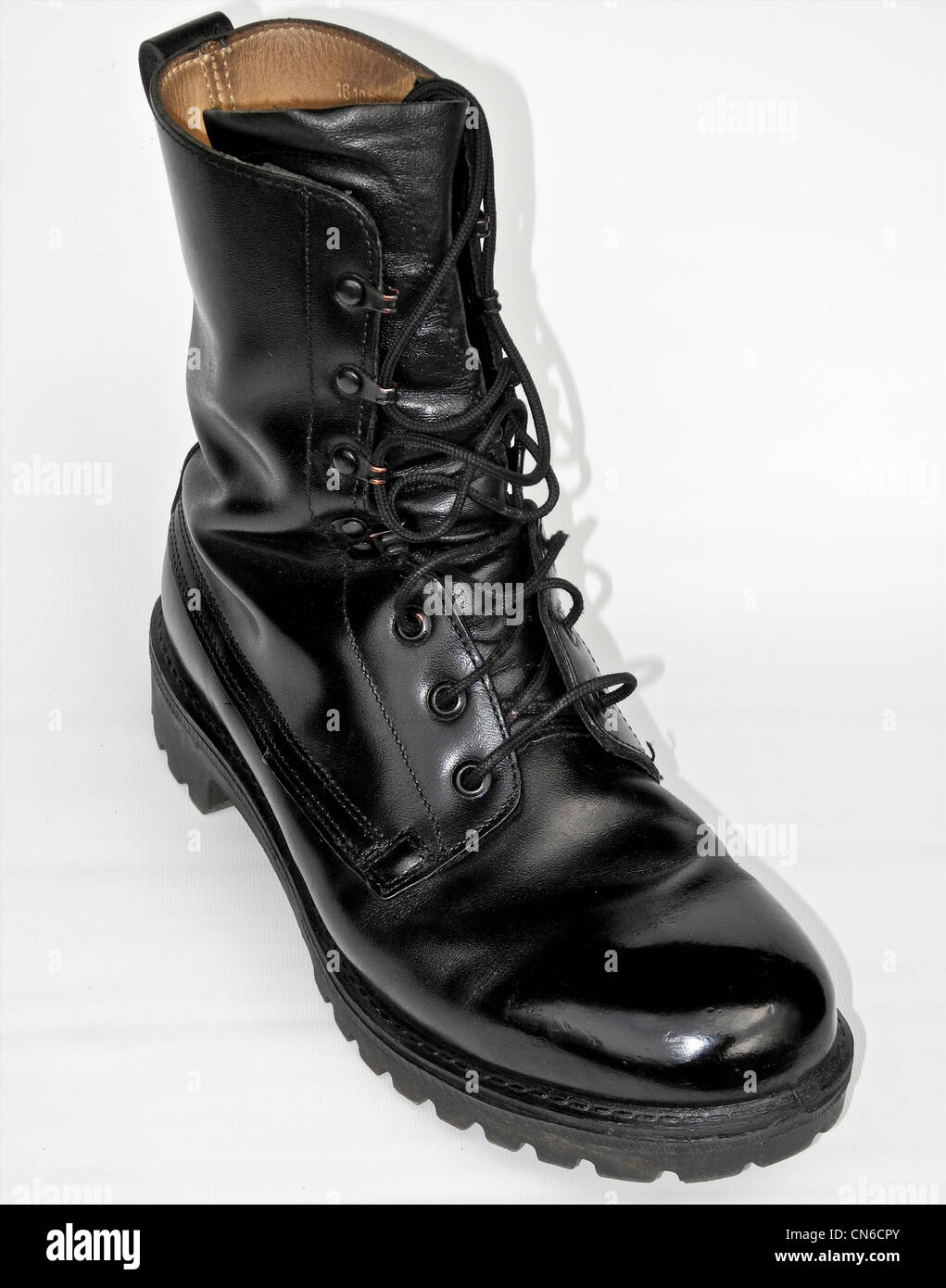 A well cared for military boot - army polished Stock Photo