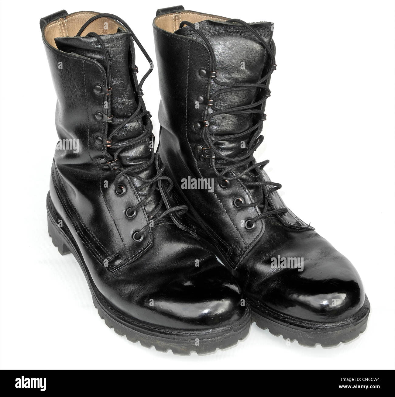 A pair of well cared for military boots - army polished. From the archives of Press Portrait Service (formerly Press - Stock Image