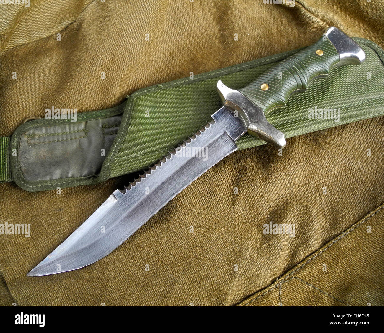 A combat military knife used as a weapon in close combat. - Stock Image