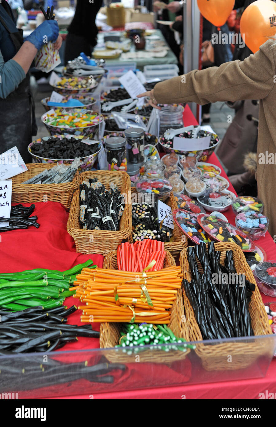 Liquorice sticks and sweets for sale at a stall at the Brighton and Hove City Food and Drink Festival over the Easter - Stock Image