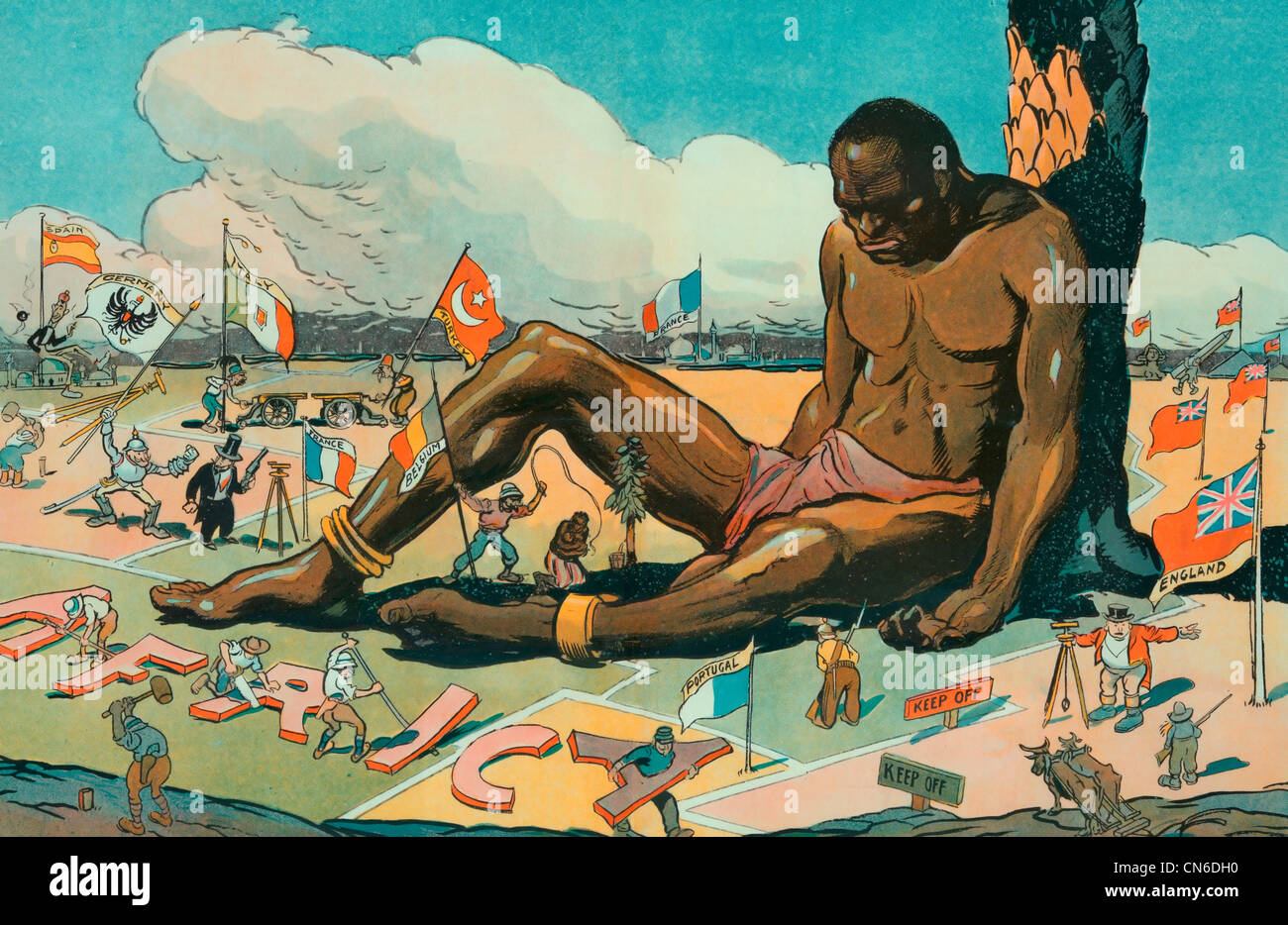 The Sleeping Sickness Illustration shows a large African man sitting, asleep, while European countries stake their - Stock Image