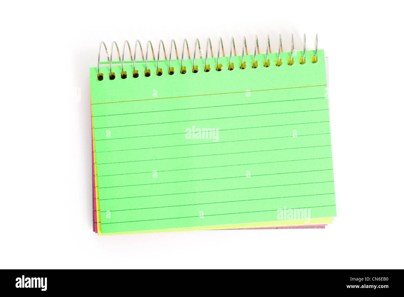 Green Note Pad with white background - Stock Image