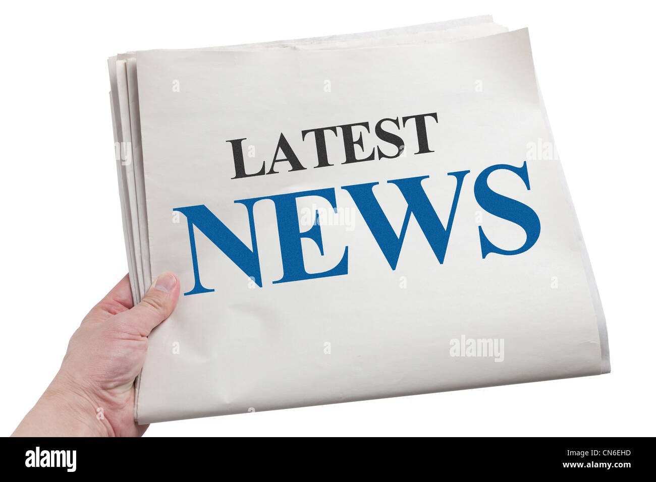 Latest News, Newspaper with white background - Stock Image