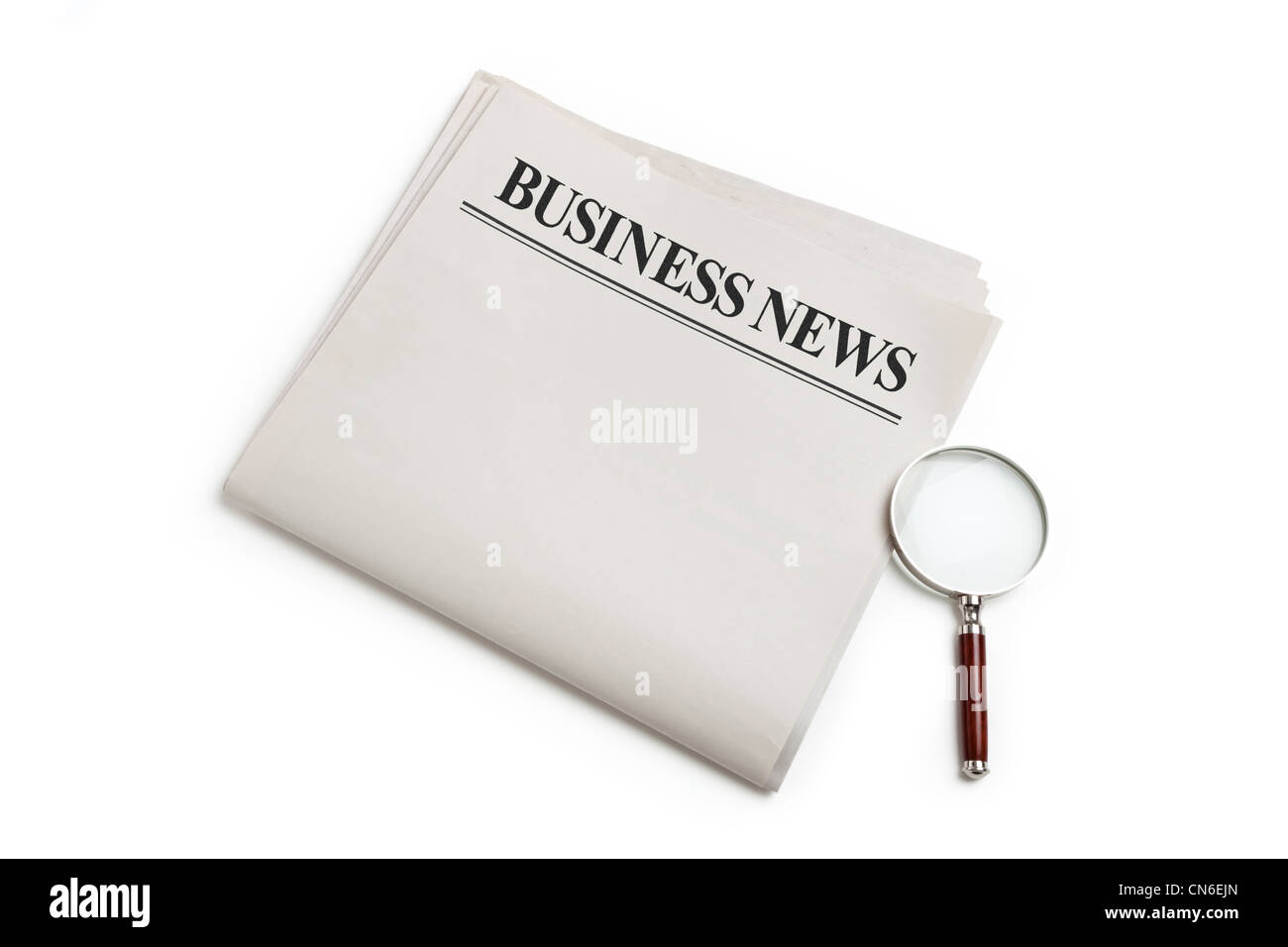 Business News Blank Newspaper With White Background Stock Photo
