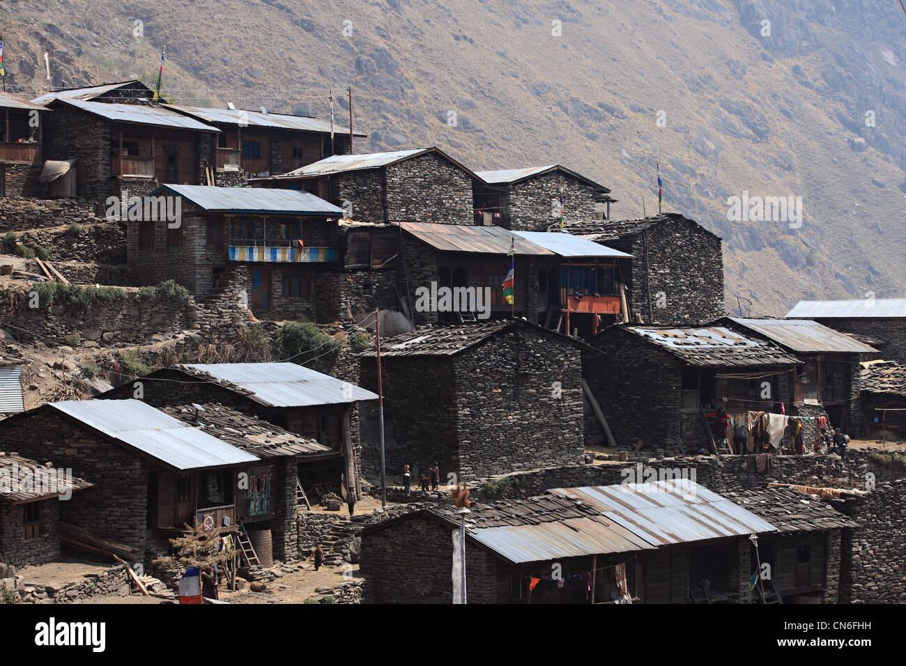 Nepali Himalayan village - Stock Image