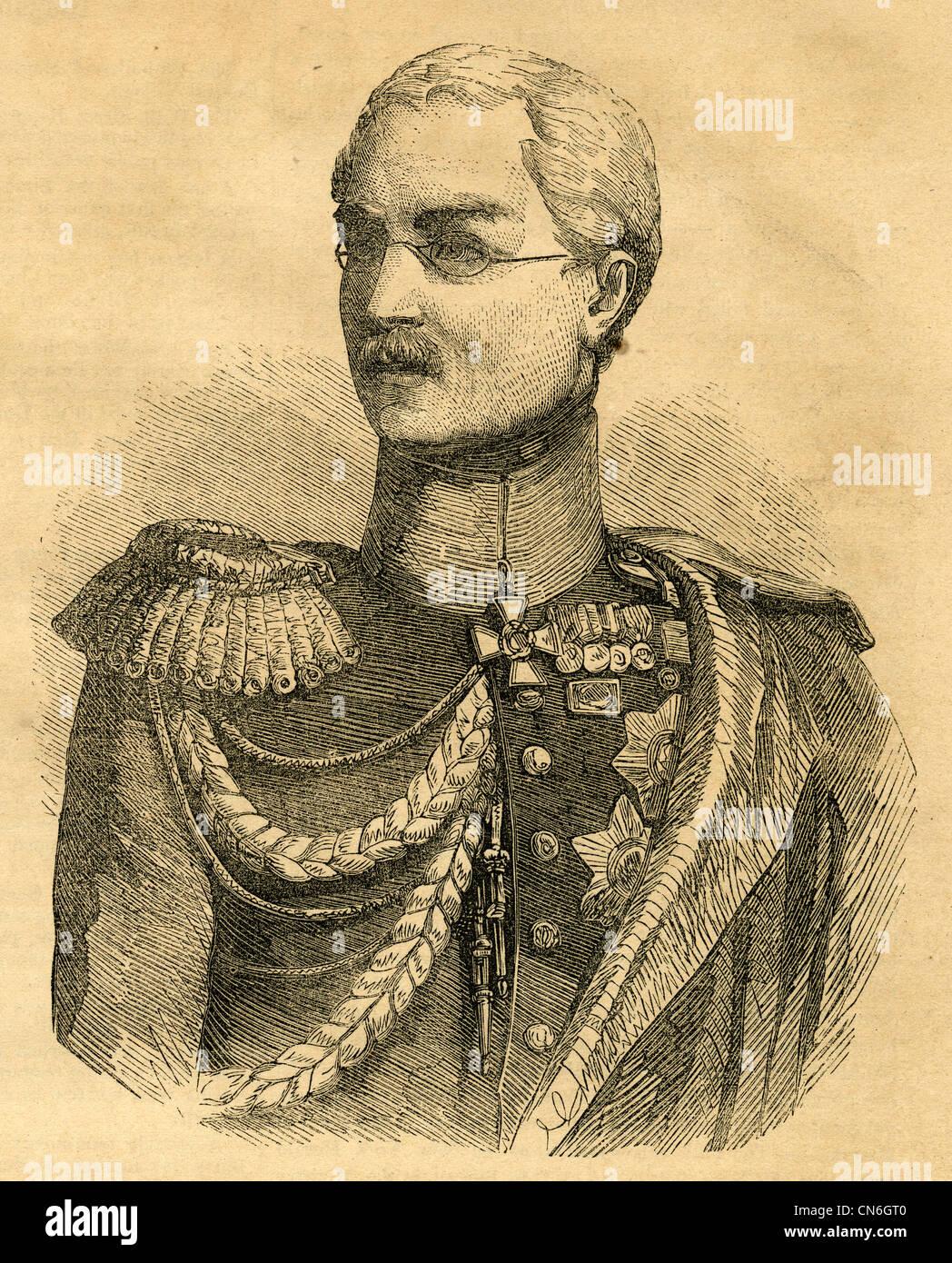 1854 engraving, Prince Mikhail Dmitrievich Gorchakov (1793–1861). - Stock Image